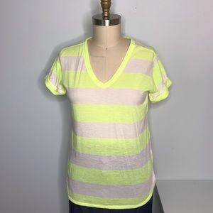 GAP Neon Yellow & White Striped V-Neck Tee